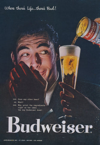 1957 Budweiser Beer Ad Rare Advertisement Print Man Lighting Cigarette Photo Mad Men Wall Art Bar Man Cave / Lounge / Bachelor Pad Decor
