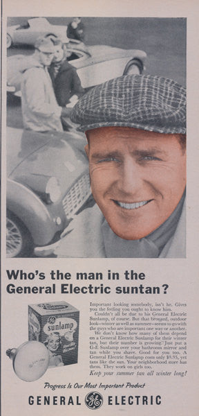1957 General Electric Sunlamp Advertisement Print Man with Suntan Face Photo Vintage GE Lightbulb Ad Tanning Salon Wall Art