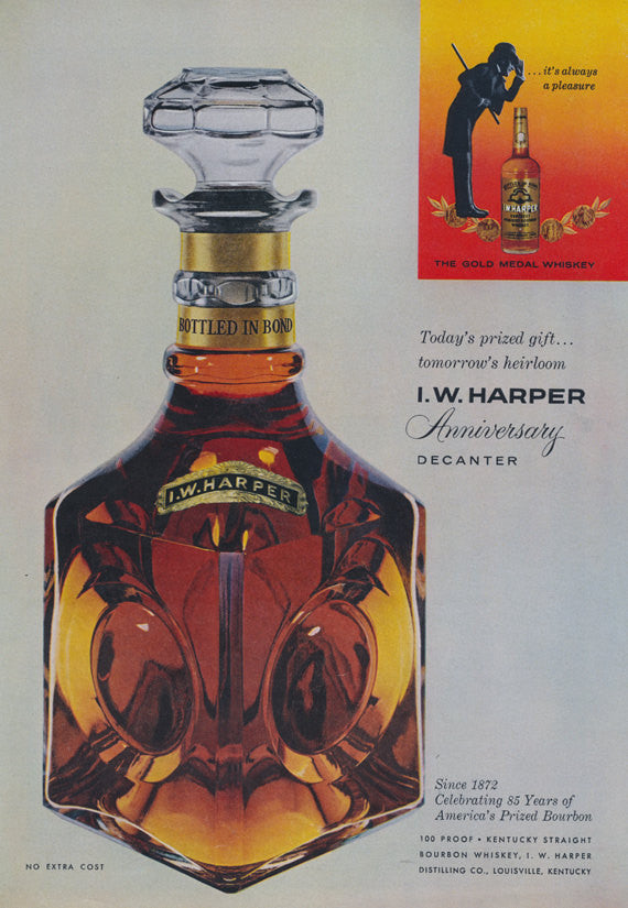1957 I.W. Harper Bourbon Whiskey Ad Anniversary Decanter Vintage Liquor Advertisement Print Retro Bar Wall Art Decor