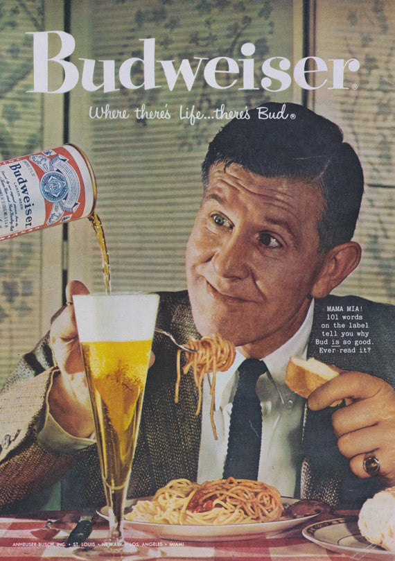 1958 Budweiser Beer Ad Man Eating Spaghetti Photo Funny Vintage Advertisement Print Kitsch Retro Bar / Italian Restaurant Wall Art Decor