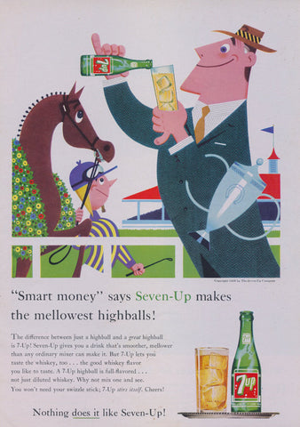 1958 7-UP Cola Ad Seven Up Soda Pop Advertisement Print 1950's Advertising Art Comic Illustration Men Drinking Fireside Bar Wall Art