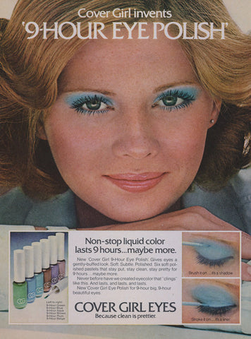 1976 Cover Girl Eyes 9-Hour Eye Polish Makeup Ad Vintage Cosmetics Advertisement Retro Beauty Print Vanity / Bathroom / Salon Wall Art