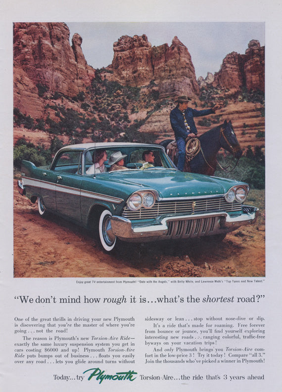 1957 Plymouth Classic Car Ad Family Desert Cowboy Photo Vintage Automotive Advertisement Print Wall Decor