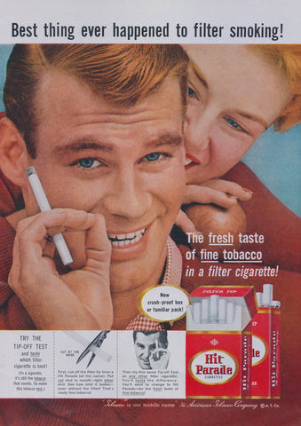 1957 Hit Parade Cigarettes Ad Tobacco Advertising Vintage Print Retro Bar Wall Art Decor