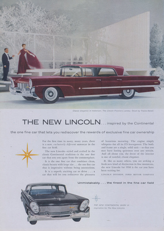 1957 Lincoln Continental Premiere Landau Car Ad Classic Automobile Continental Mark III Advertisement Print 1950's Couple Wall Art Decor