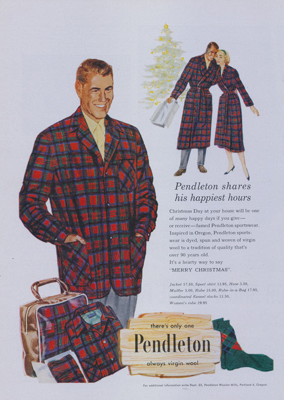 1957 Pendleton Wool Men's Clothing Ad Flannel Blazer Shirt Robe Vintage 1950's Fashion Advertisement Print Shop Wall Art Decor