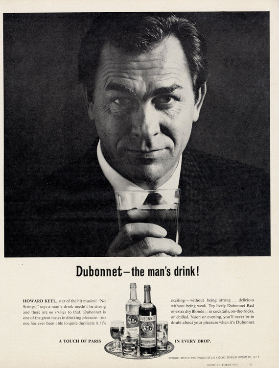 "1963 Dubonnet Aperitif Wine Ad ""The Man's Drink!"" Vintage Liquor Advertisement Print Bar Wall Art Decor"