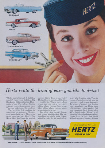 1957 Hertz Rent a Car Advertisement Cadillac Buick Oldsmobile Chevrolet Hertz Girl Photo Vintage Print Ad Retro Travel Wall Art Decor