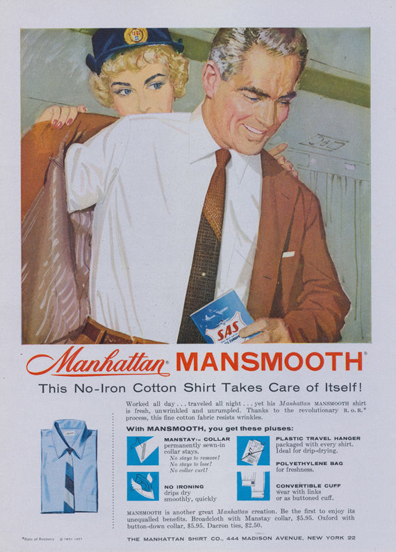 1957 Manhattan Mansmooth Shirt Ad Vintage Men's Fashion Advertisement SAS Flight Attendant Illustration Art Clothing Shop Wall Art Decor