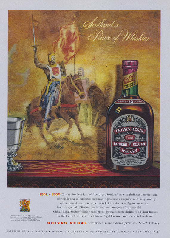 Chivas Regal Scotch Whisky Vintage Advertisement Print Scotland Prince of Whiskies Art Illustration 1801-1957 Bar Wall Art Decor