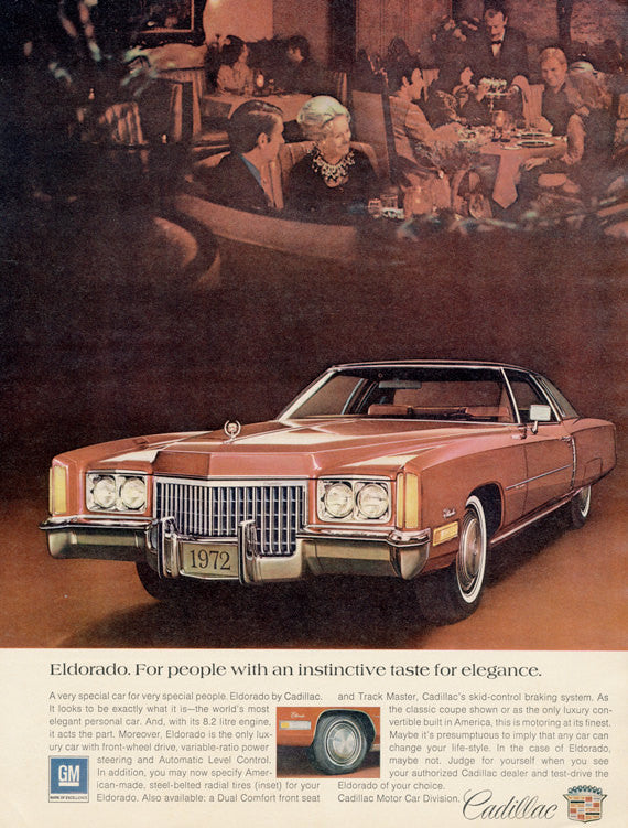 1972 Cadillac Eldorado Ad Vintage Car Advertisement Print Wall Art Decor