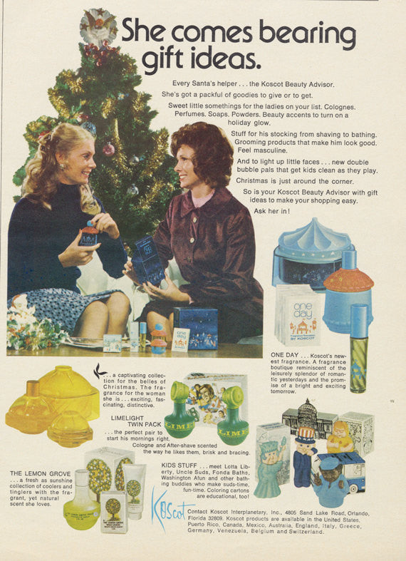 70s Koscot Beauty Advisor Sales Representative Photo Fragrance Ad 1973 Advertisement Print Retro Bathroom / Salon / Vanity Wall Art