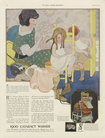 1900 Cataract Washing Machine 1921 Rare Vintage Advertisement Mother Daughter Illustration Art Laundry Room Wall Decor / Mina Taylor Dresses
