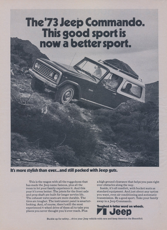 1973 Jeep Commando Truck Ad Vintage Advertisement Print Man Cave Wall Art Decor Gift for Him