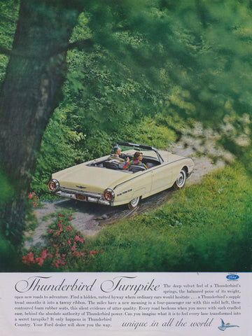1962 Ford Thunderbird Car Ad Yellow T-Bird Convertible Photo Print Vintage Auto Advertisement Wall Art Decor
