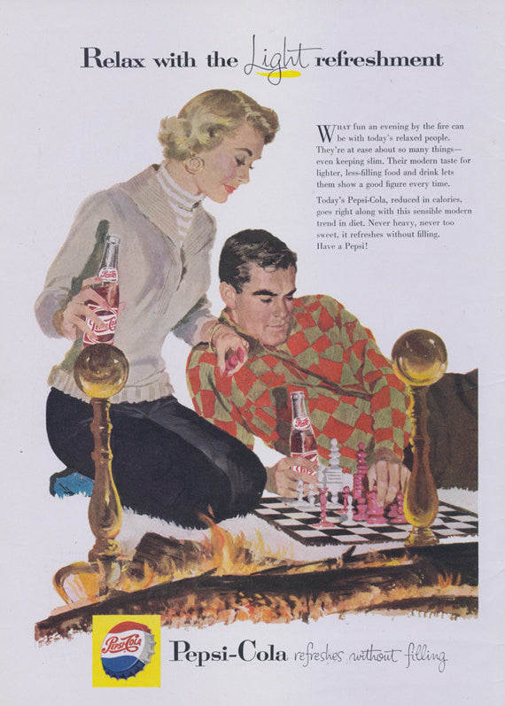 1957 Pepsi Ad Mid Century Print Advertisement Couple Playing Chess Art Illustration Wall Decor