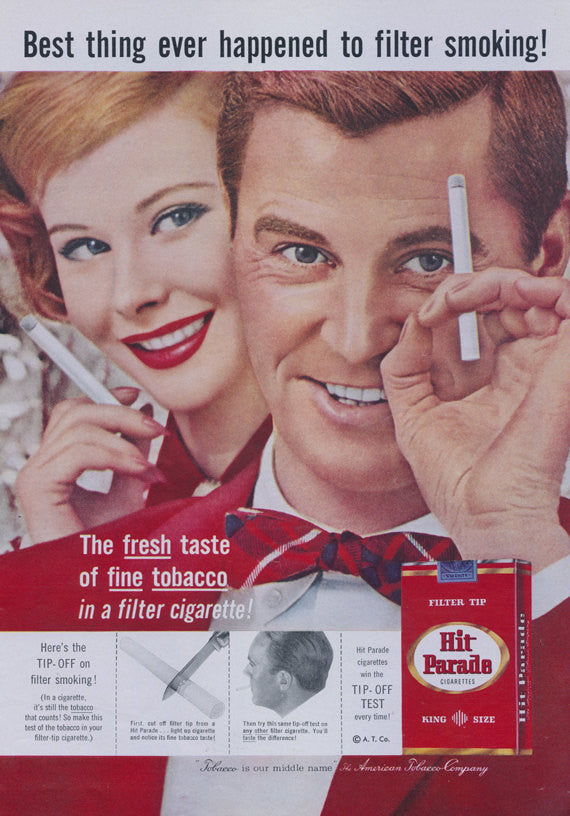 Hit Parade Cigarette Ad Mad Men Vintage Advertisement Print 1950sTobacco Advertising Art Smoking Photo Mid Century Bar Wall Decor