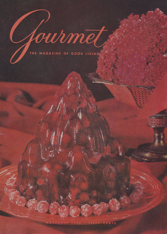 1966 Gourmet Magazine Vintage Cover Art Jell-O Gelatin Red Dessert Photo Food Art Print Retro Kitchen / Restaurant Print Wall Art Decor