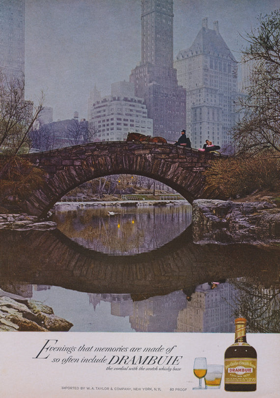 1966 Drambuie Scotch Whisky Liquor Advertisement Print Carriage Ride Central Park New York Bar Pub Wall Art Decor