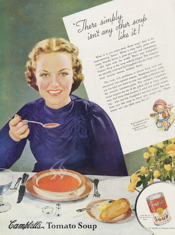 1936 Campbell's Tomato Soup Vintage Food Advertisement Print 1930s Woman Art Illustration Kitchen / Restaurant / Cafe Wall Decor