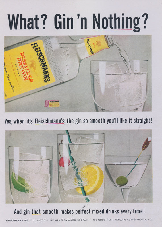 Fleischmann's Gin Vintage Ad 1956 Liquor Advertisement Print Man Men Wall Art Retro Bar Decor