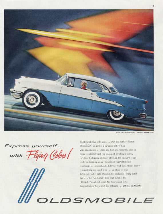 1955 Rocket Oldsmobile 88 Holiday Coupe Woman Driving 1950s Car Photo Print Advertisement Art Retro Atomic Age Futuristic Wall Decor