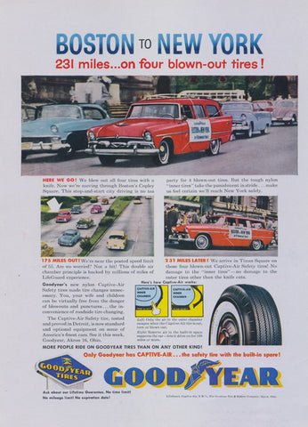 1957 Good Year Tires Vintage Ad Boston to New York Automotive Advertisement Print Garage Art Man Cave Wall Decor