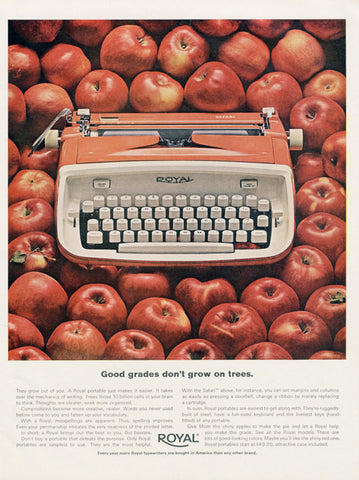 1960s Royal Typewriter Vintage Advertisement Print Apples Photo Office Wall Art Decor