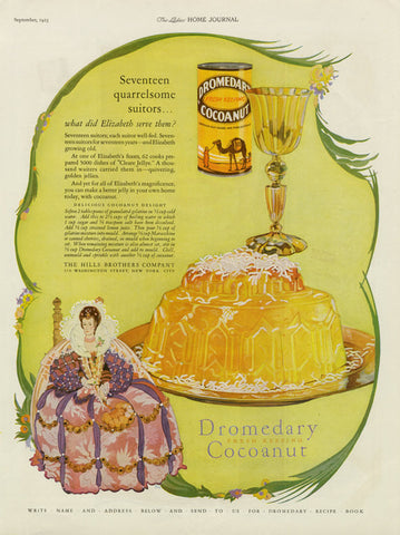 1925 Dromedary Cocoanut Ad Queen Elizabeth Gelatin Dessert Illustration Art Vintage Advertisement Print Kitchen / Bakery / Restaurant Art