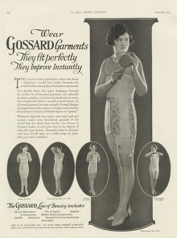 1925 Girdle Corset Ad Gossard Garments Vintage Lingerie Advertisement Print 1920s Girl Woman Photo Boutique / Boudoir Wall Art Decor