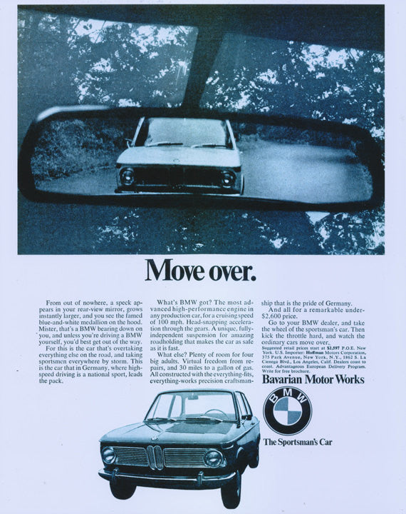 "1968 BMW Car Ad ""Move Over"" Bavarian Motor Works Automotive Advertisement Wall Art Glossy Car Poster Print - Gift for Him"