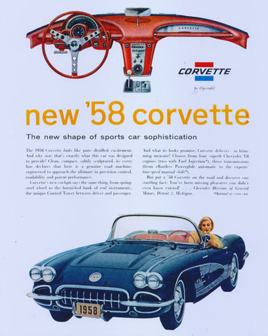 1958 Chevrolet Corvette Car Ad Poster Print Vintage Chevy Convertible Automotive Advertisement Art Gift for Him Man Cave / Garage Decor