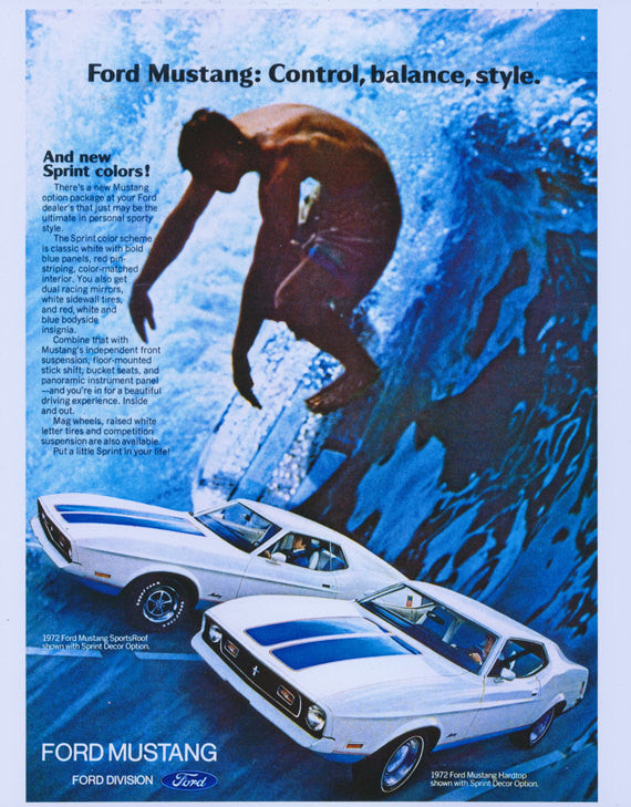 1972 Ford Mustang Sports Car Ad Surfer Photo Poster Print Gift for Him Ford Muscle Cars Vintage Advertisement Sprint Decor Retro Wall Art