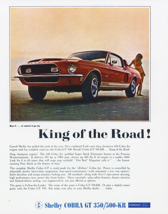 "1968 Ford Shelby Cobra GT 350/500-KR ""King of the Road!"" Red Muscle Car Poster Print Retro Automotive Advertisement Art  - Gift for Him"