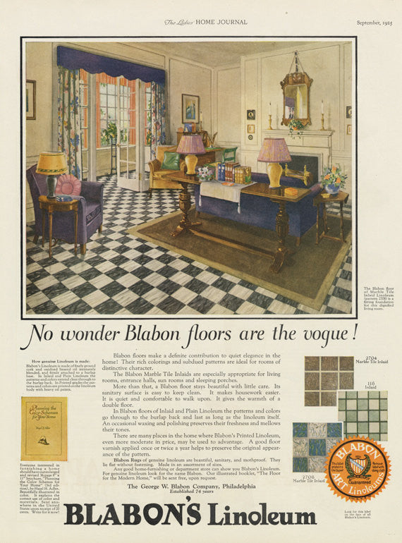 1925 blabons linoleum ad 1920s home interior illustration art vintage flooring advertisement living room print antique