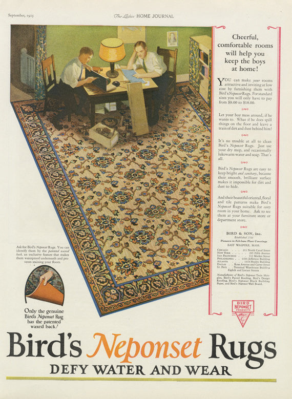 1925 Bird's Neponset Rugs Ad Vintage Home Interior Design 1920s Advertisement Print Antique Shop Wall Art Decor