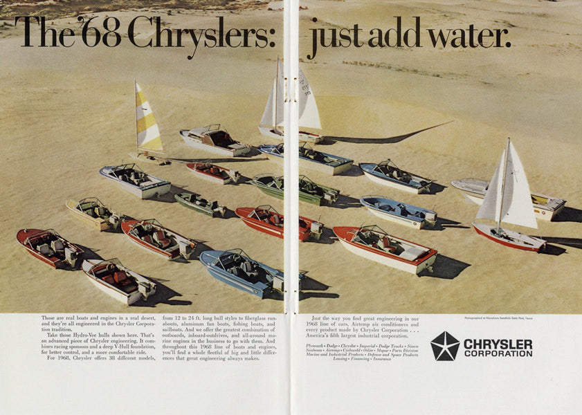 1968 Chrysler Sailboats Ski Boats Vintage Advertisement Print Man Cave Nautical Wall Art Decor