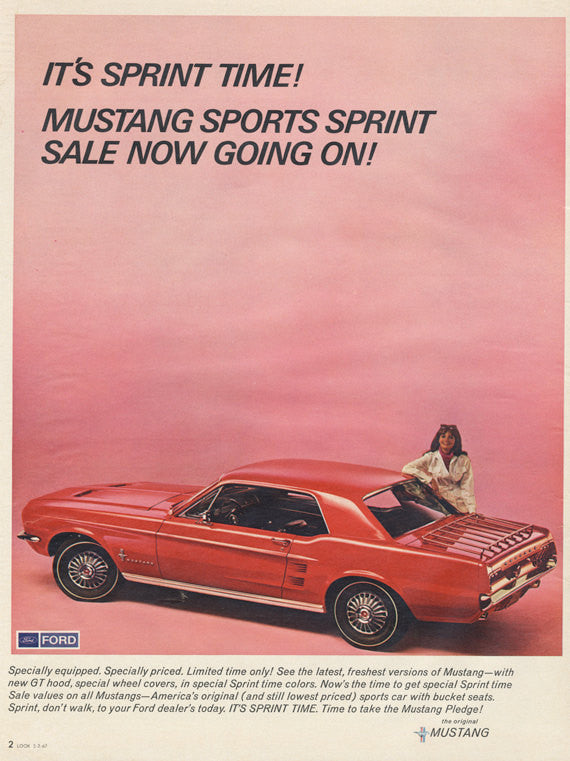 1967 Ford Mustang Car Ad Red Sports Car Photo Print Vintage Advertisement Auto Shop / Garage Wall Art