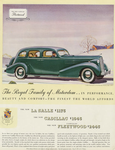 1935 Cadillac Fleetwood Car Ad Vintage Automobile Advertising Art Print Wall Art Decor