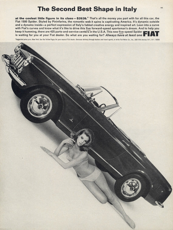 1965 Fiat 1500 Spider Convertible Car Ad Sexy Girl Bikini Photo Vintage Auto Advertisement Print Garage / Mad Men Man Cave Pin-Up Wall Art