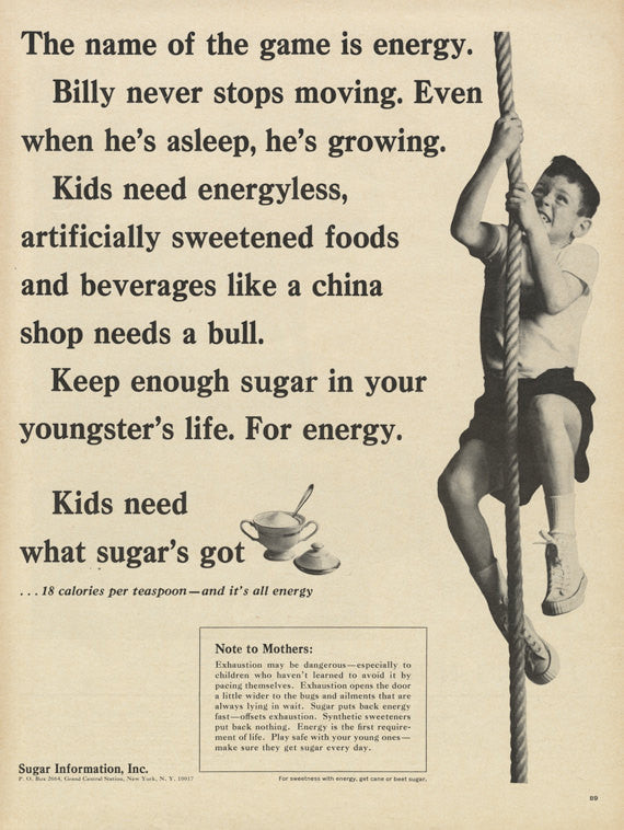 1965 Sugar Information Inc Vintage Advertisement Little Boy Photo Print Funny Advertising Retro Health Diet Wall Art Decor