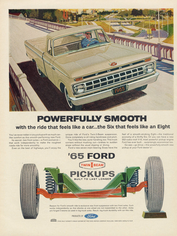 1965 Ford Pickup Truck Vintage Ad Twin I Beam Advertisement Art Print Man Cave Garage Wall Decor - Gift for Him