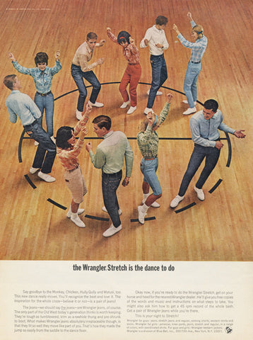 1960s Wrangler Jeans Vintage Ad School Dance Photo 1964 Fashion Advertisement Print Retro Wall Art Decor