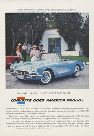 1958 Chevrolet Corvette Convertible Blue Chevy Sports Car Photo Print Rare Advertisement Wall Art