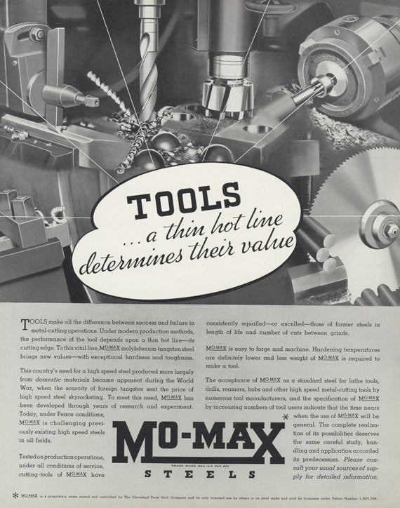1935 Mo-Max Steels Vintage Advertisement Tools Illustration Art Print Ad Shop / Office / Man Cave Industrial Wall Art Decor