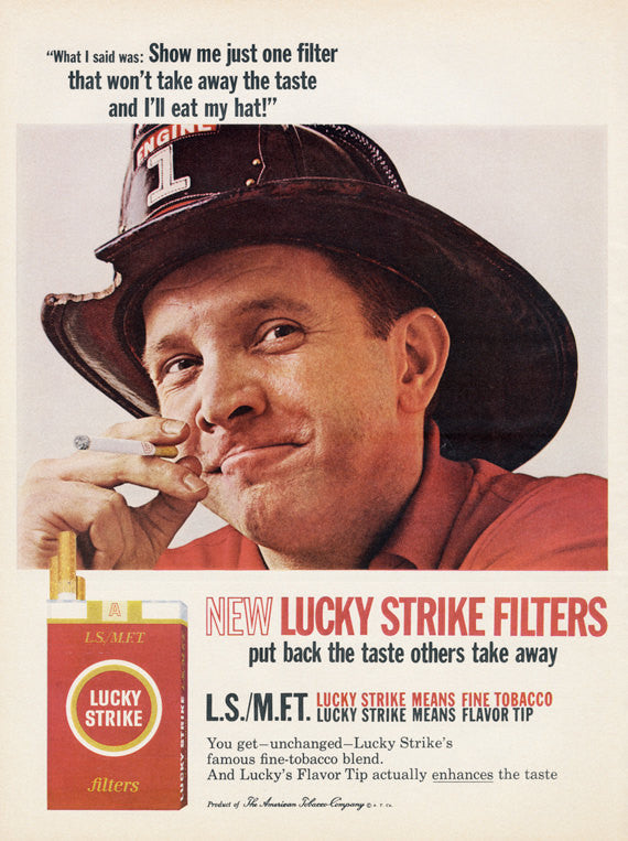 "1965 Lucky Strike Filters Cigarette Ad Fireman Photo ""Eat my Hat"" Weird American Tobacco Company Advertisement Print Wall Art Decor"
