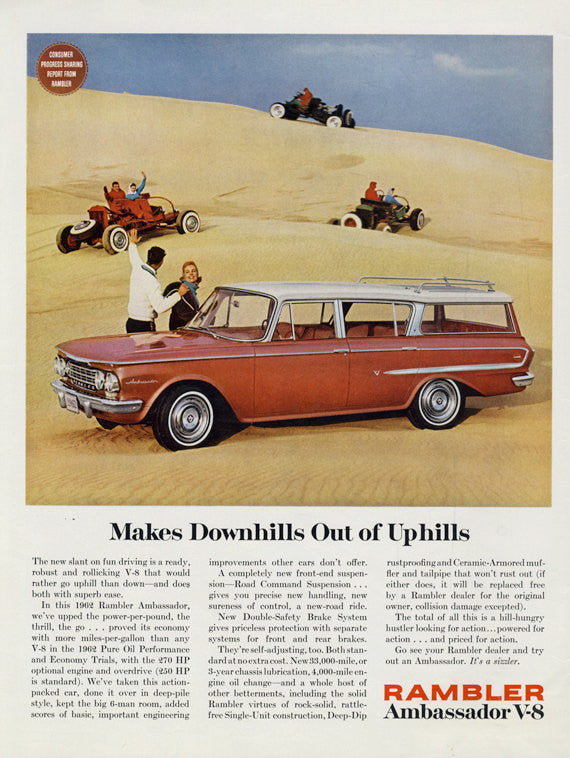 1962 Rambler Station Wagon Ad Vintage Advertisement Sand Dune Photo Wall Art Decor