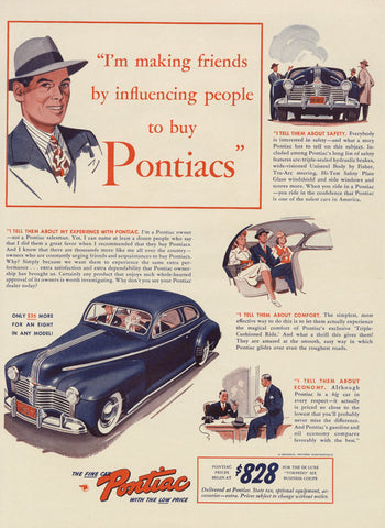 1941 Pontiac Car Ad WWII Era Vintage Automobile Advertisement Art Print Retro Garage Office Man Cave Restaurant Wall Decor