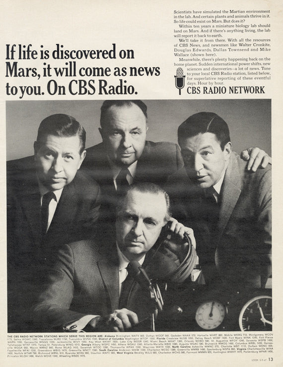 "1967 CBS Radio Network Vintage Advertisement ""If Life is Discovered on Mars"" Print Ad 60s Radio Hosts Newsmen Walter Cronkite Photo Wall Art"