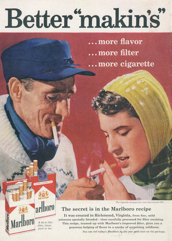 "1958 Marlboro Cigarettes Vintage Ad Better ""makins"" Retro Couple Smoking Winter Photo Print Rare Advertisement Art Bar Wall Decor"